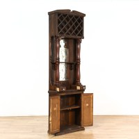 Traditional Wood Tall Wine Cabinet w/ Storage   Loveseat ...
