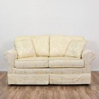 """Krause's"" Cream Floral Damask Loveseat Sofa 