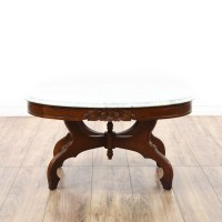 Victorian Cherry Carved Marble Top Coffee Table | Loveseat ...