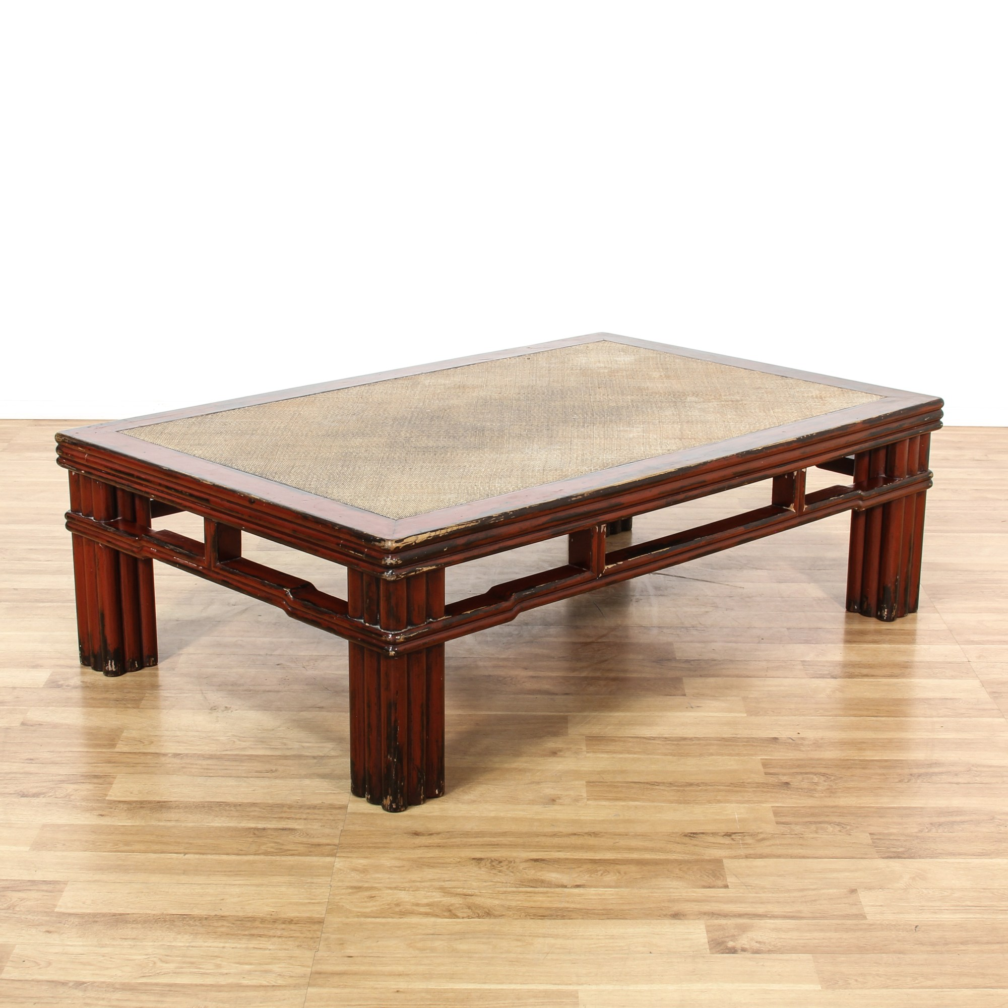 Asian Carved Red Painted Coffee Table Loveseat Vintage