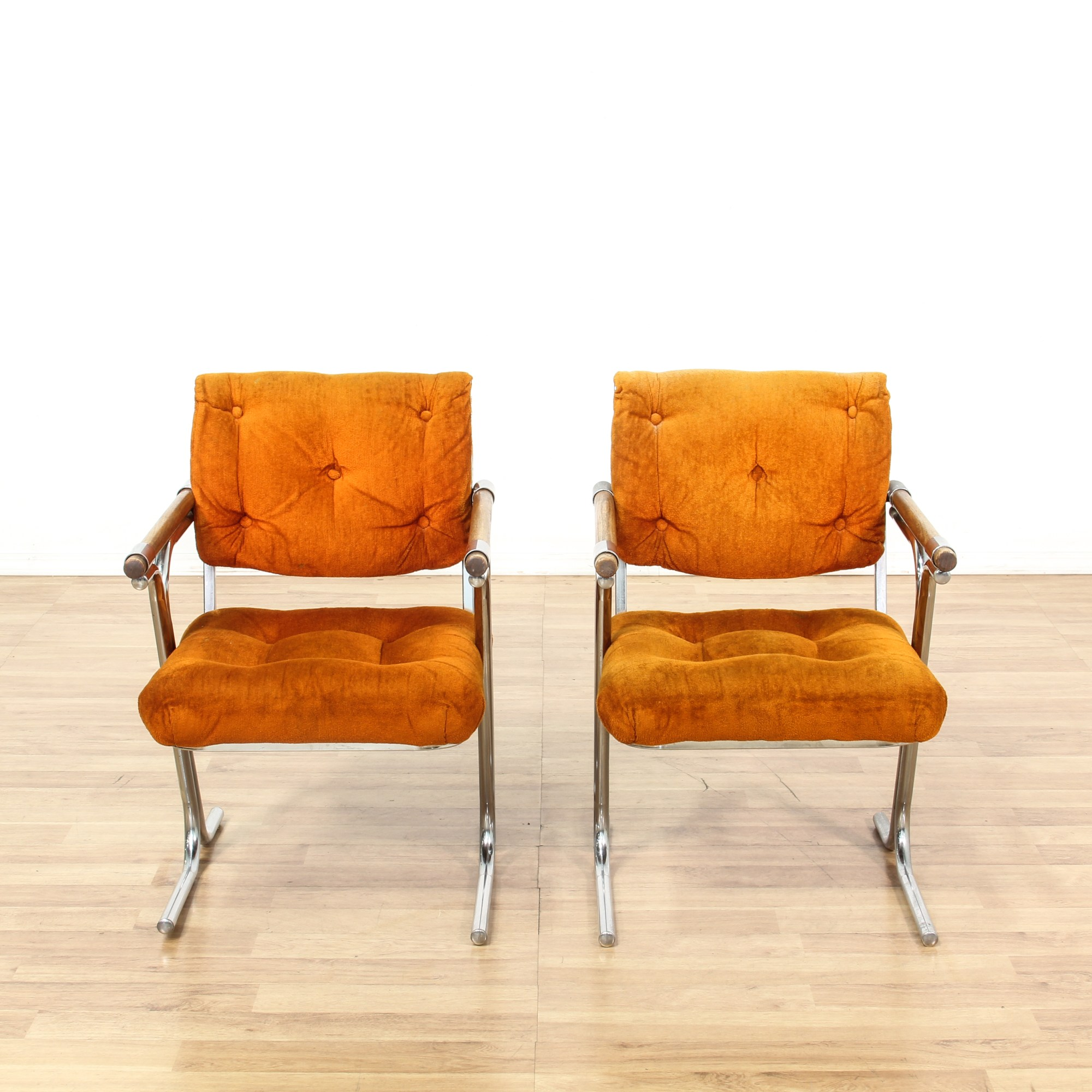 Burnt Orange Accent Chair Pair Of Retro Burnt Orange And Chrome Accent Chairs