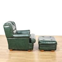 Dark Green Leather Upholstered Chair & Ottoman | Loveseat ...
