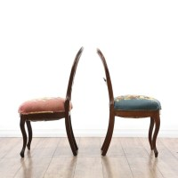 Pair Of Mismatched Needlepoint Balloon Chairs