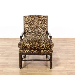 Animal Print Accent Chair Chippendale Wingback Leopard Carved Wood Loveseat Vintage