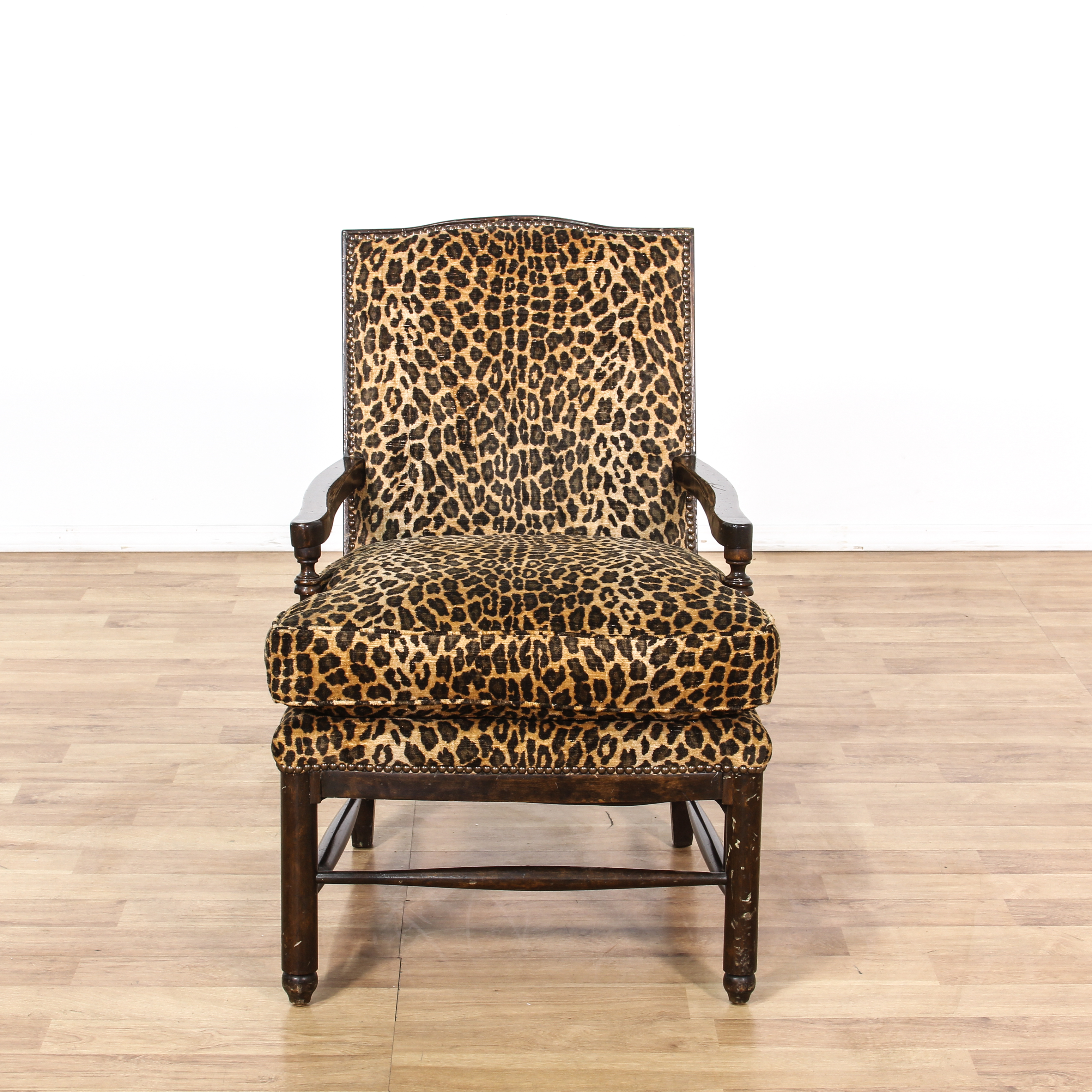 animal print accent chairs power chair accessories cup holder leopard carved wood loveseat vintage