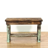 Rustic Distressed Wood Work Bench Table | Loveseat Vintage ...