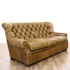 Vine Brown Leather Tufted Sofa Box Cushion Covers Distressed Club 2 Loveseat