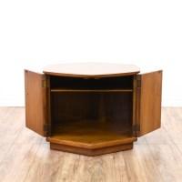 Mid Century Modern Hexagon End Table Cabinet   Loveseat ...