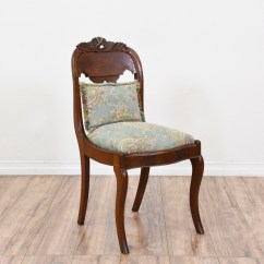 Blue Floral Chair Mid Century Upholstered Dining Chairs Carved Victorian W Needlepoint