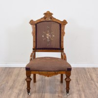 Victorian Floral Carved Needlepoint Chair | Loveseat ...
