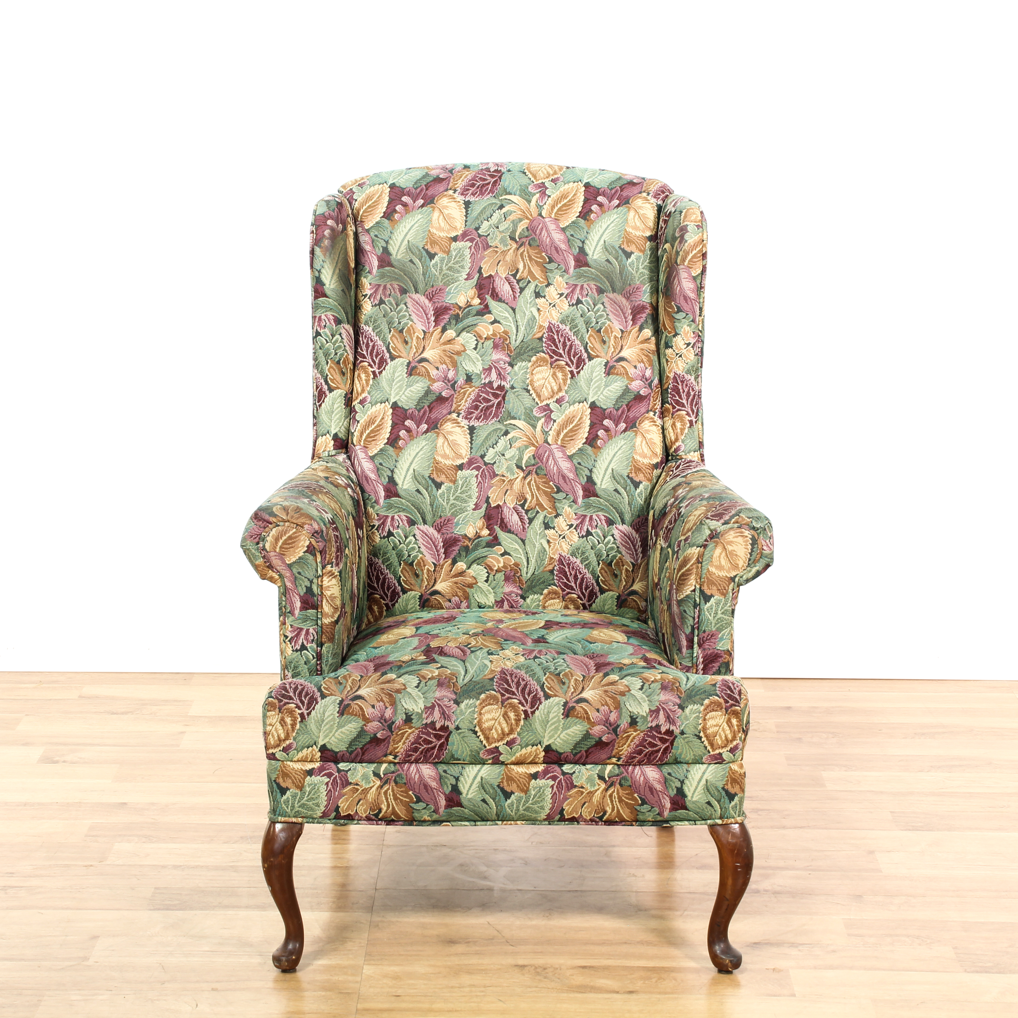floral arm chair folding big w wingback 2 loveseat vintage furniture