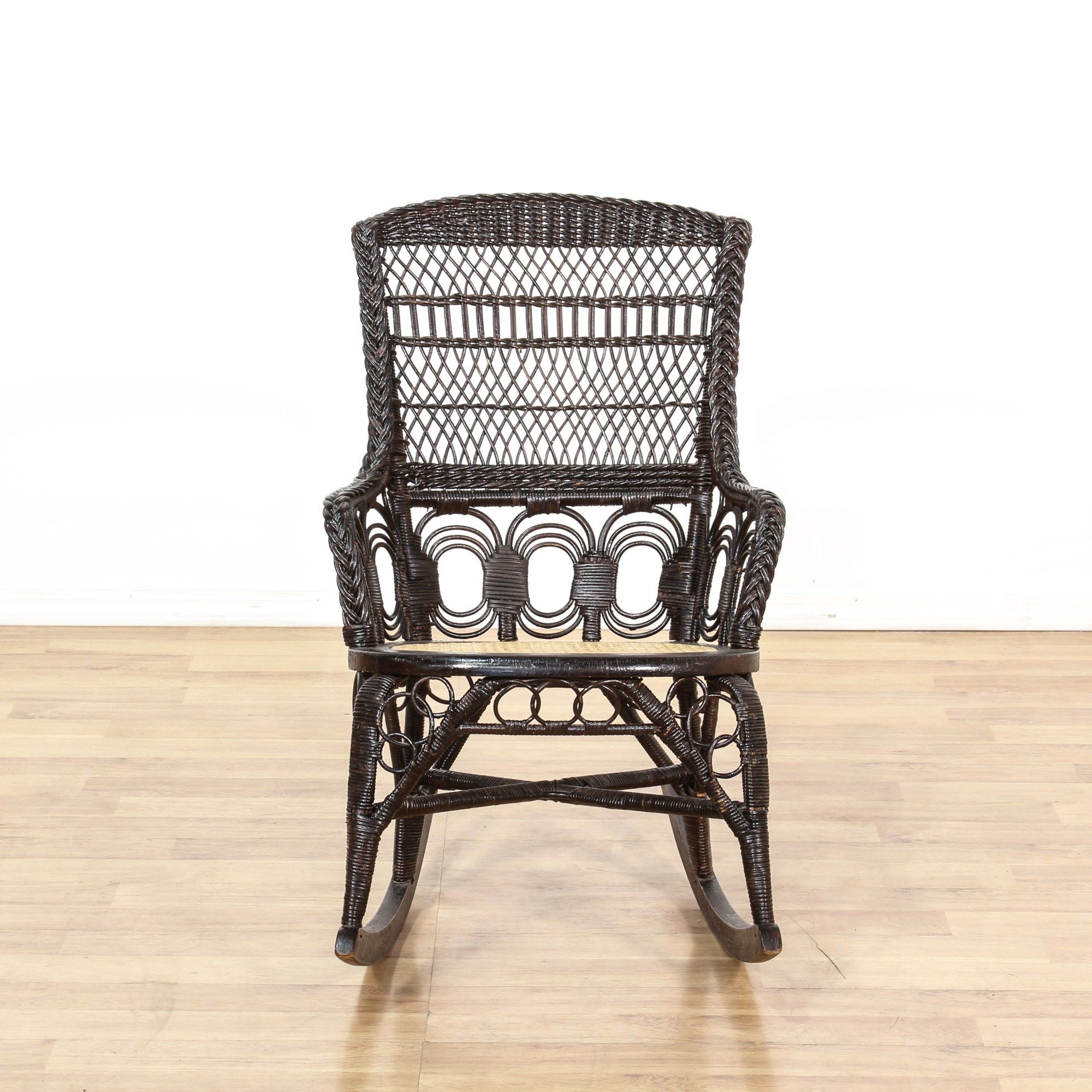Black Wicker Rocking Chairs Black Wicker Rattan Cane Seat Rocking Chair Loveseat