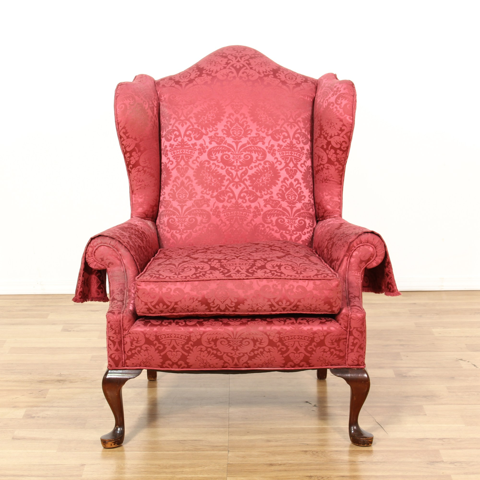 Floral Wingback Chair Red Floral Damask Wingback Armchair Loveseat Vintage