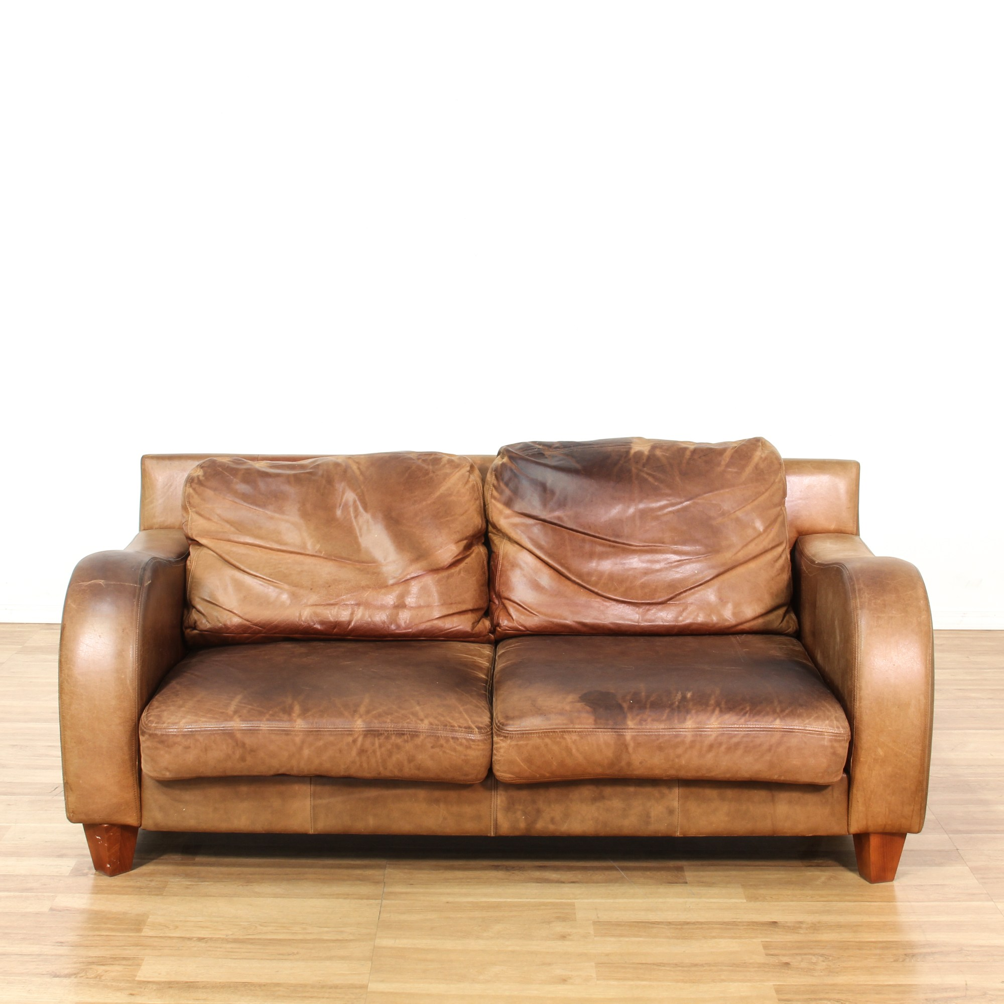 Curved Arm Leather Sofa