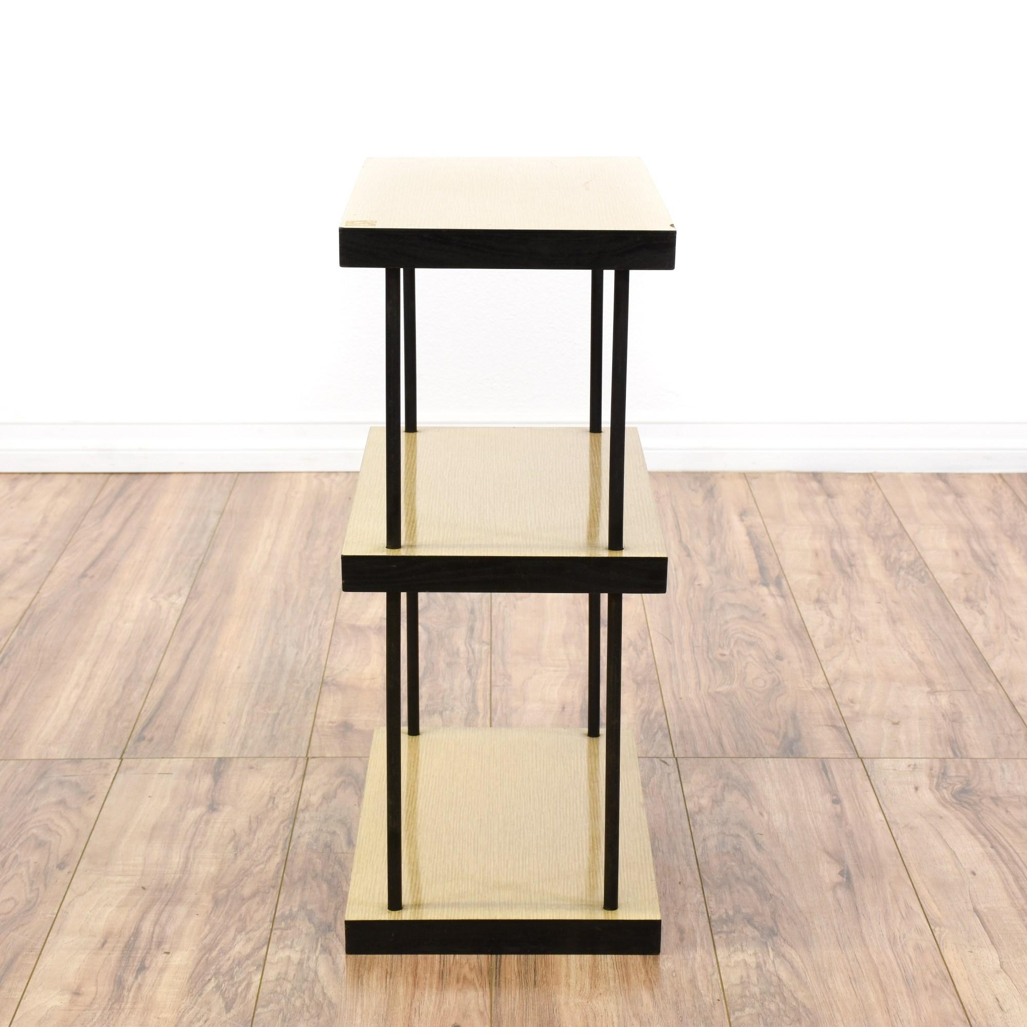 Mid Century Modern Black Wood Laminate Bookshelf