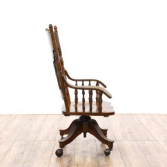 Press Back Chair Used Captain Chairs For Boats Victorian Oak Rolling Desk Loveseat