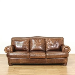 Brown Leather Studded Sofa Manhattan 3 Seater Bed With Cup Holders Black Ralph Lauren Style Loveseat Vintage Furniture Next