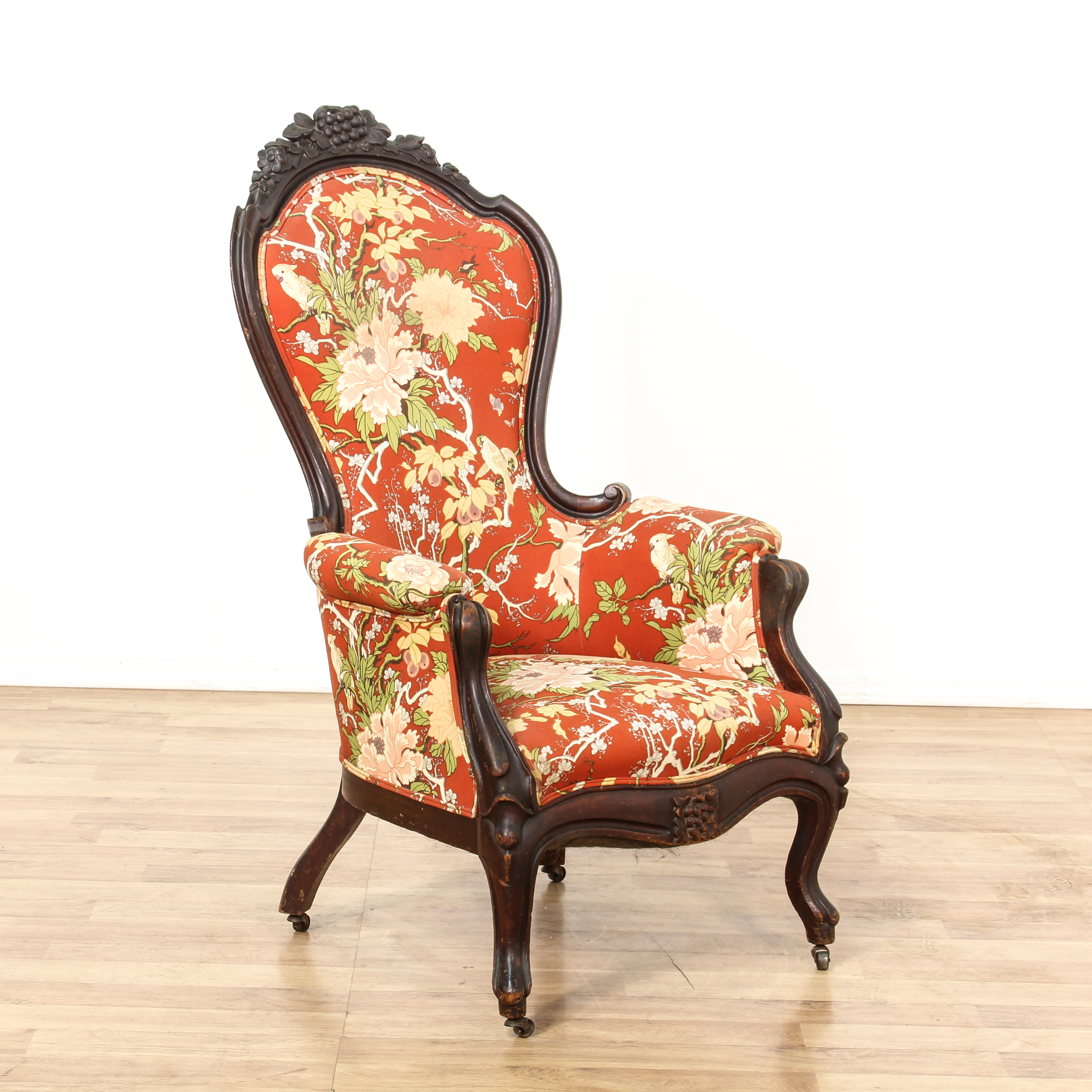 floral upholstered chair fun office chairs uk red carved victorian side