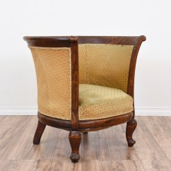 Old Wooden Barrel Chairs Chicco High Chair Solid Wood Armchair W Gold Upholstery Loveseat