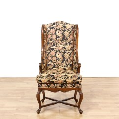Floral Print Accent Chairs Dental Chair Covers For Sale Tall Walnut Wingback Loveseat