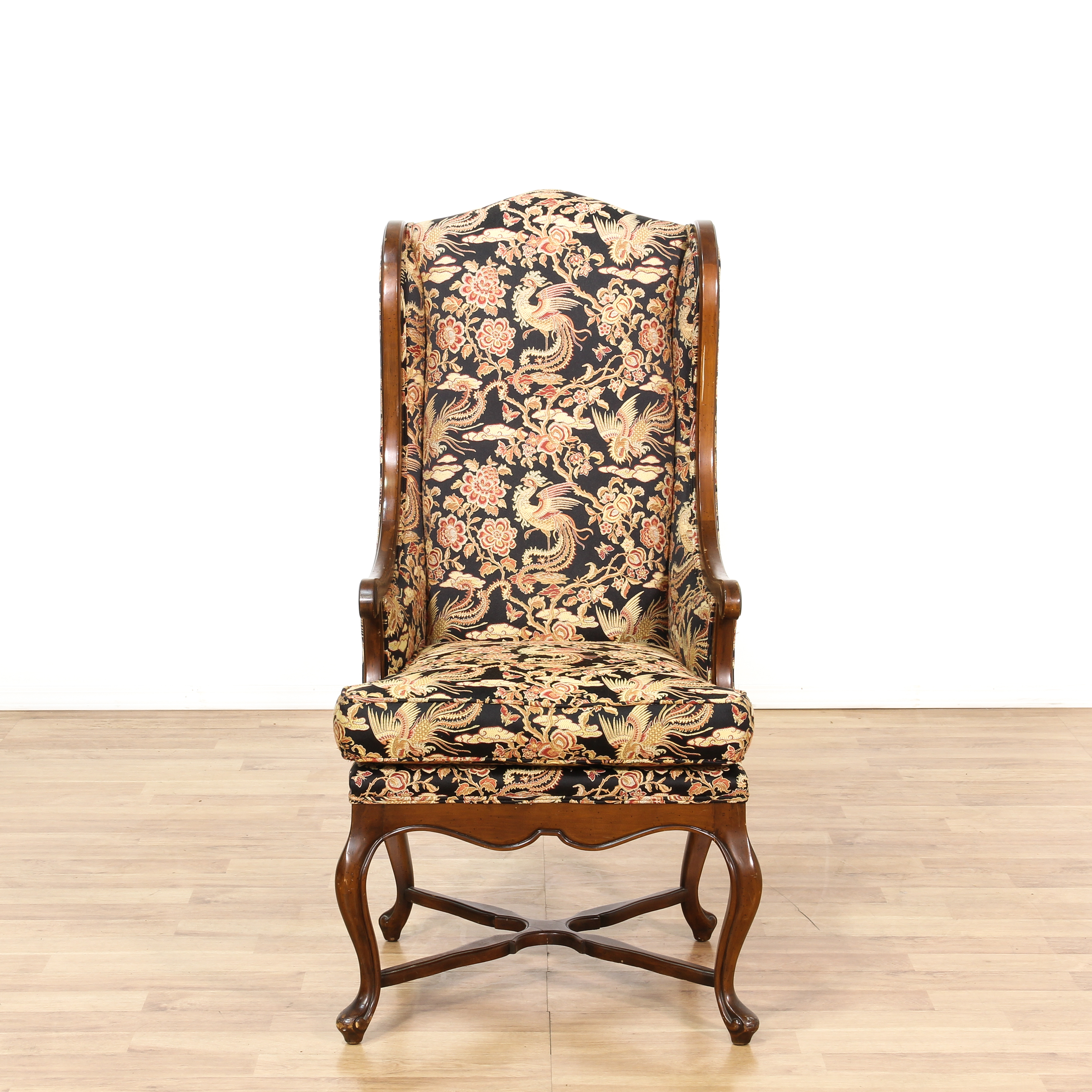 accent wingback chairs lionel outdoor wicker lounge chair and ottoman set with pillow tall walnut floral loveseat