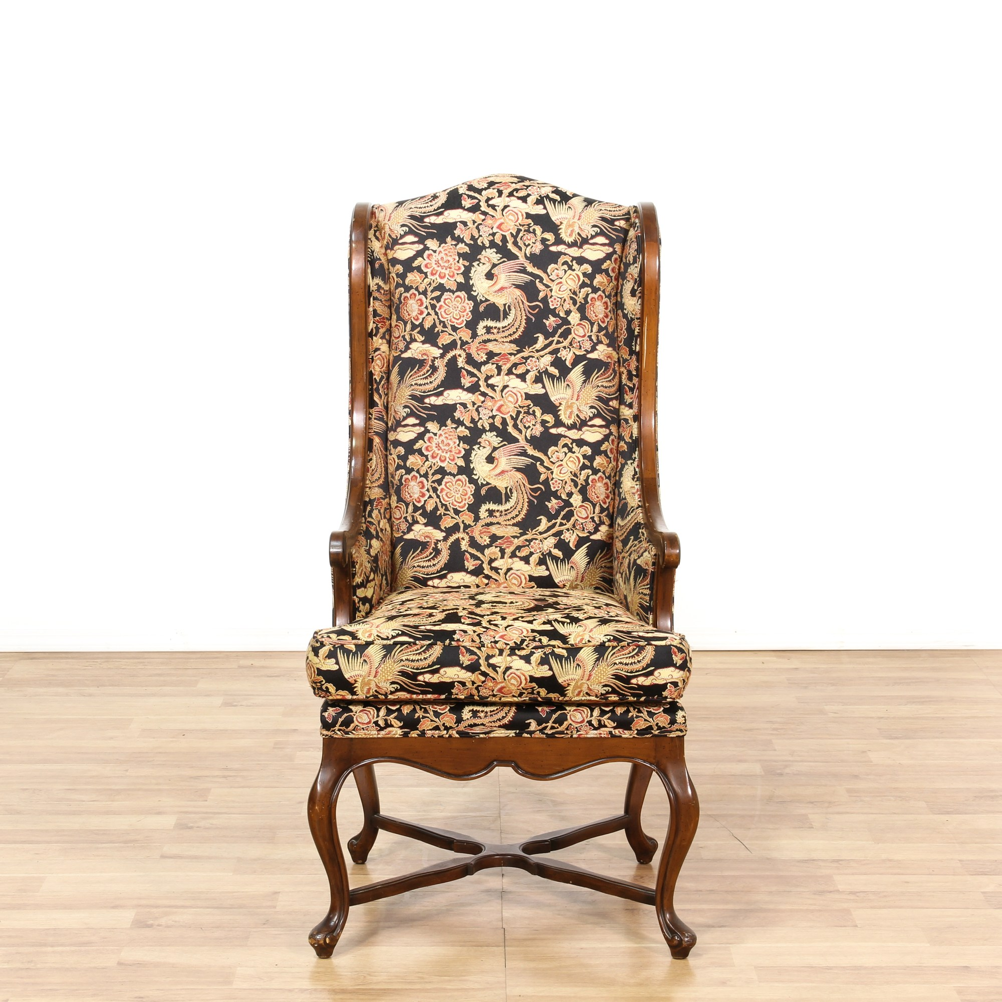 Floral Accent Wingback Chair