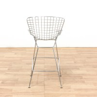 Single Modern Metal Bar Chair w/ White Cushion | Loveseat ...
