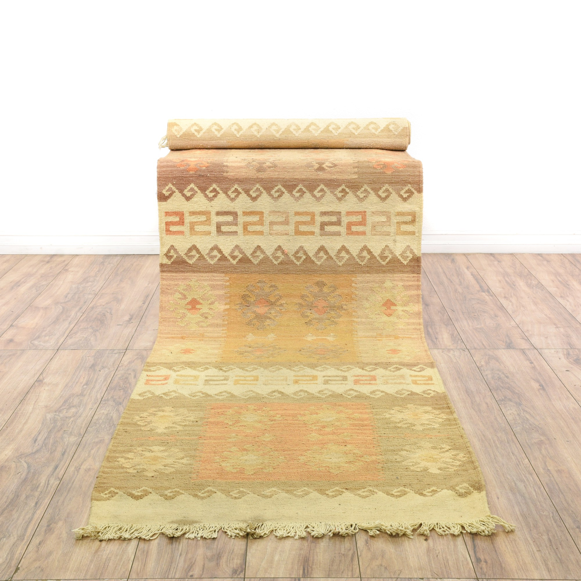 Long Warm Beige Kilim Runner Rug  Loveseat Vintage Furniture San Diego  Los Angeles