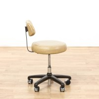 Mid Century Vinyl Cream Desk Chair On Casters | Loveseat ...