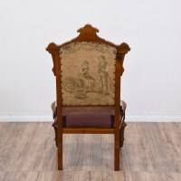 Victorian Floral Carved Needlepoint Chair   Loveseat ...