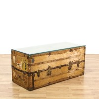 Antique Travel Steamer Trunk Coffee Table | Loveseat ...