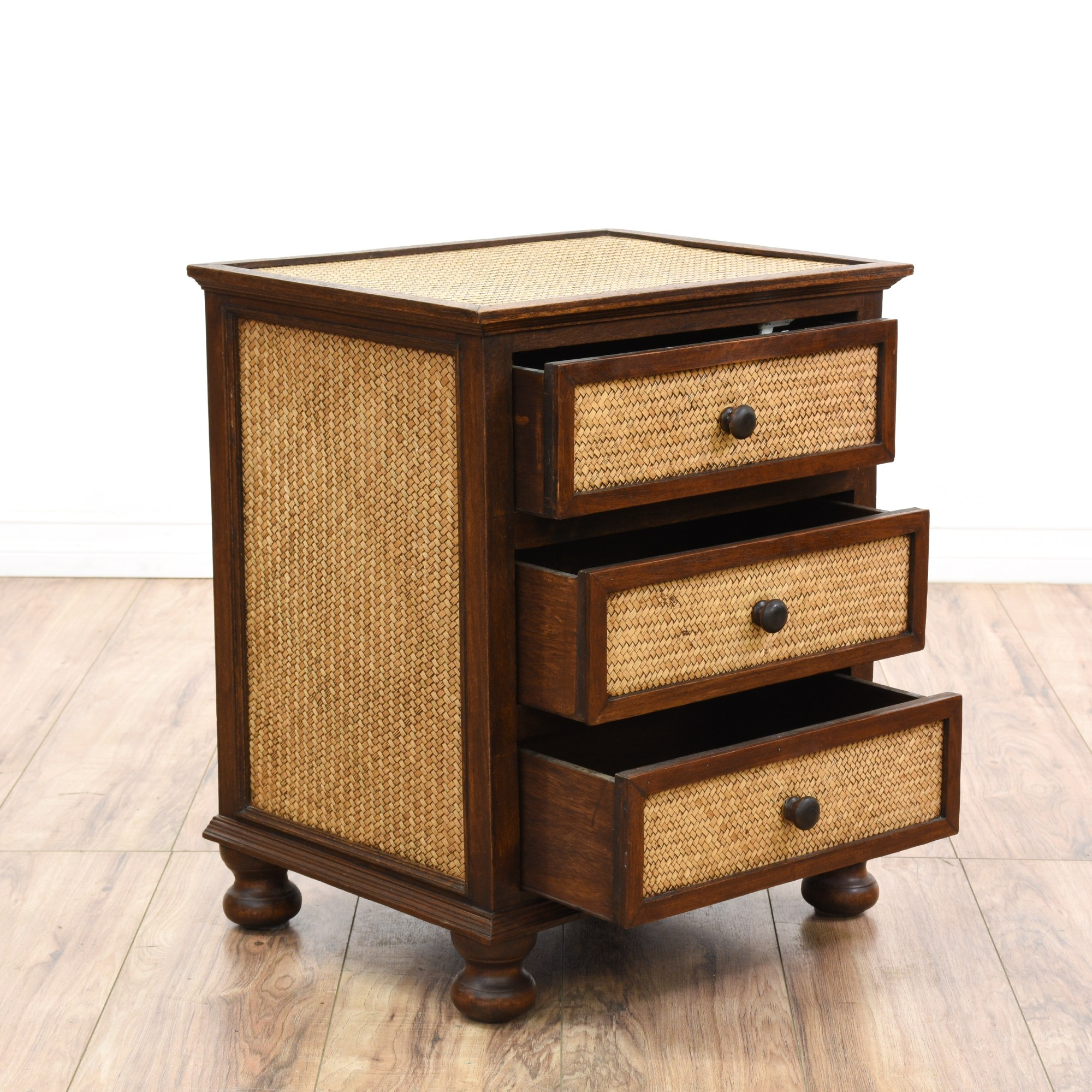 Wood Nightstand with Wicker Drawers