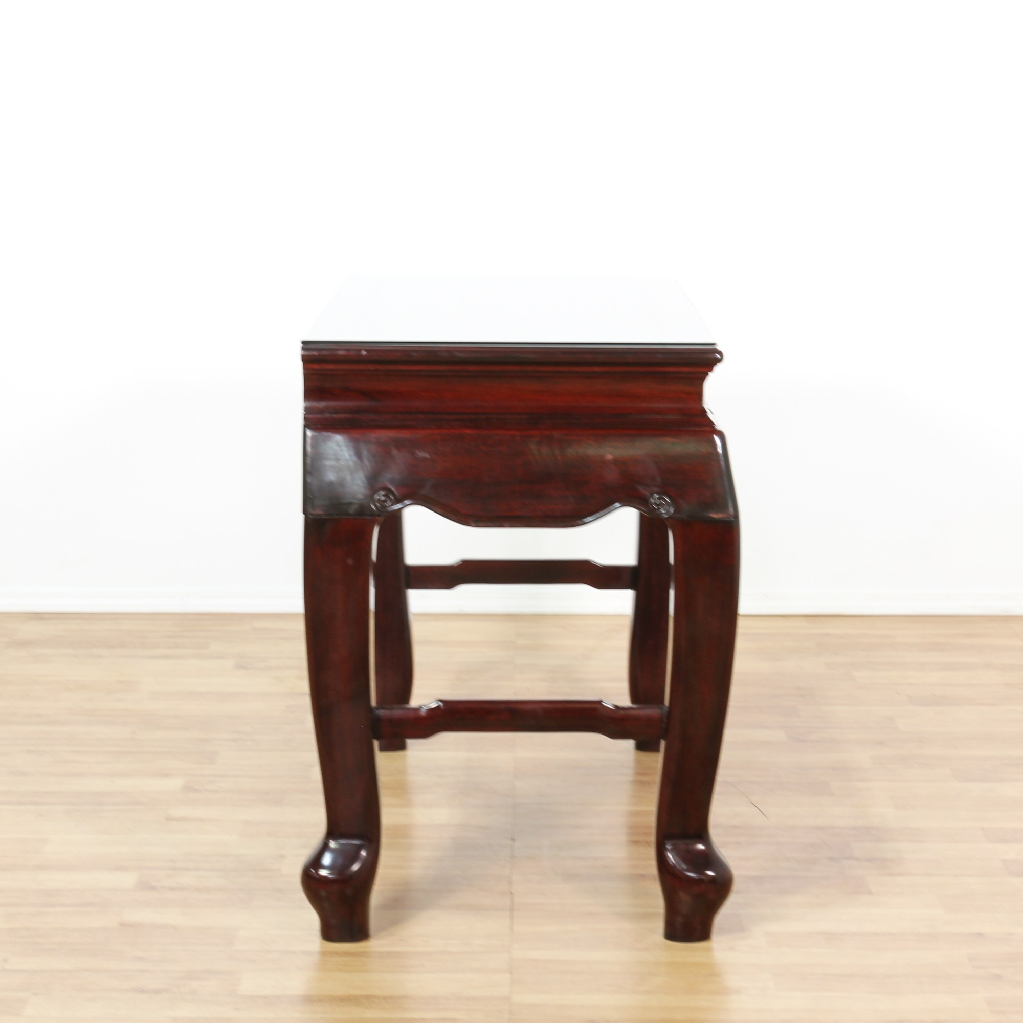 Asian Carved Rosewood End Table Loveseat Vintage