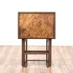 Set Of 4 Mid Century Modern Burl Wood Tv Trays Loveseat Online Auctions San Diego