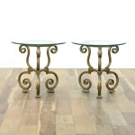 Pair Of Small Scrolled Metal End Tables W Glass Top Loveseat Online Auctions San Diego