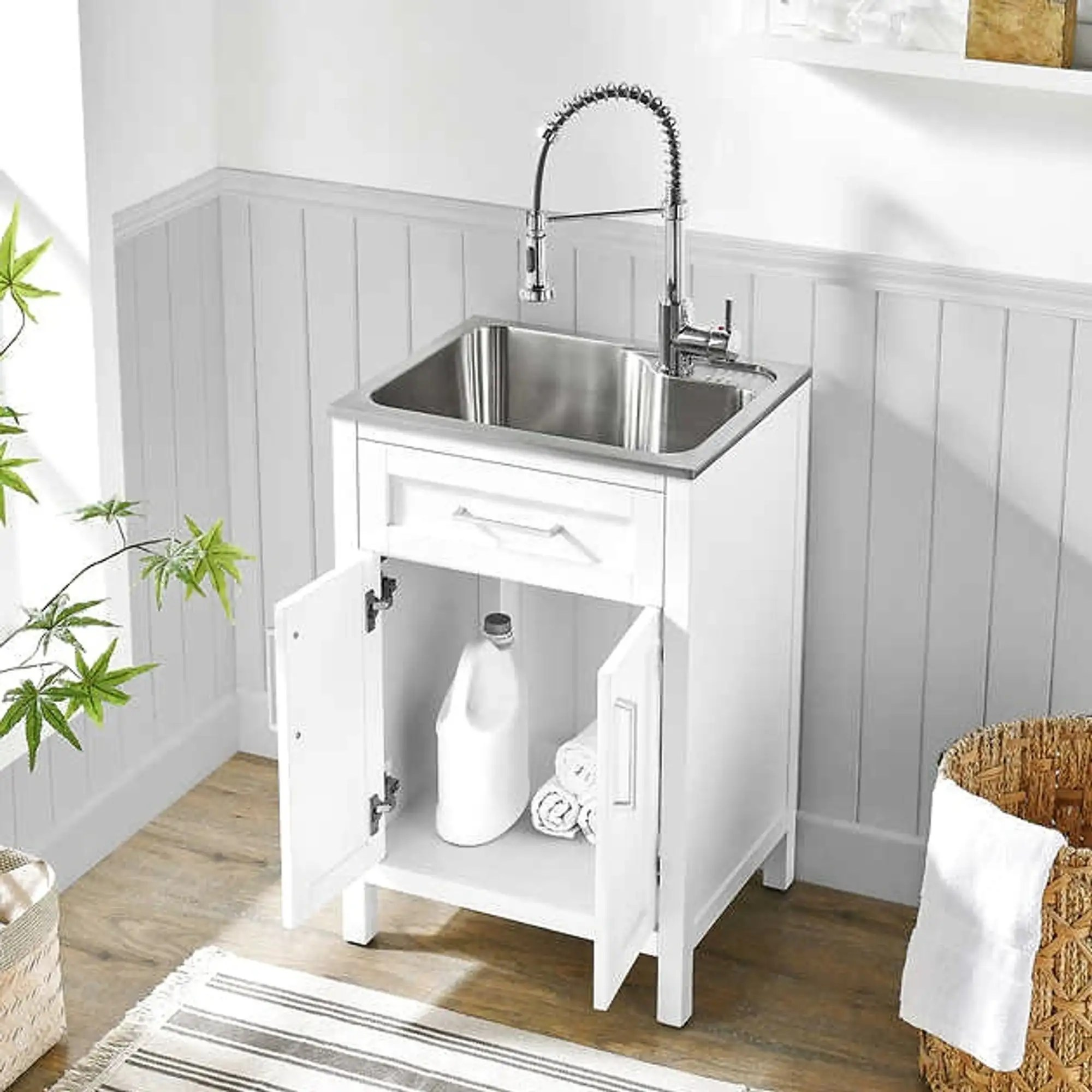 utility sink with cabinet