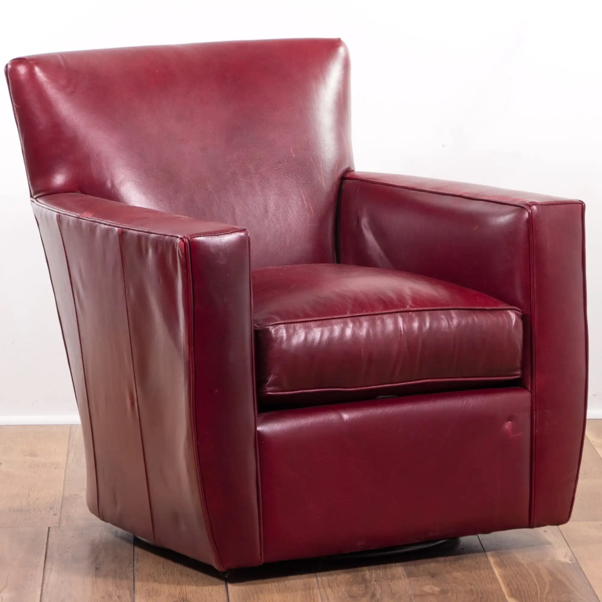 Crate Barrel Red Leather Armchair Loveseat Online Auctions Los Angeles