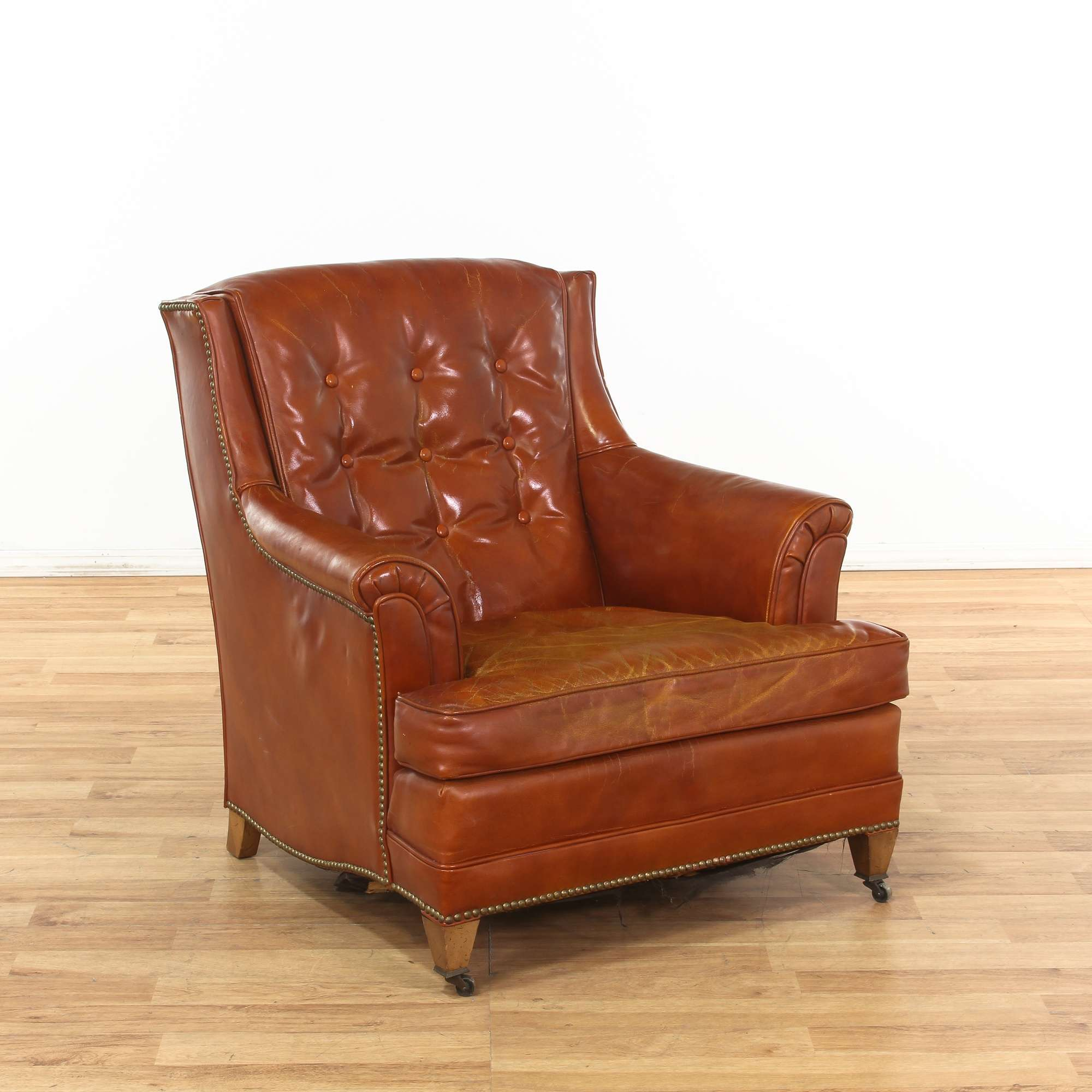 Heritage Brown Leather Tufted Armchair W Nailhead Trim