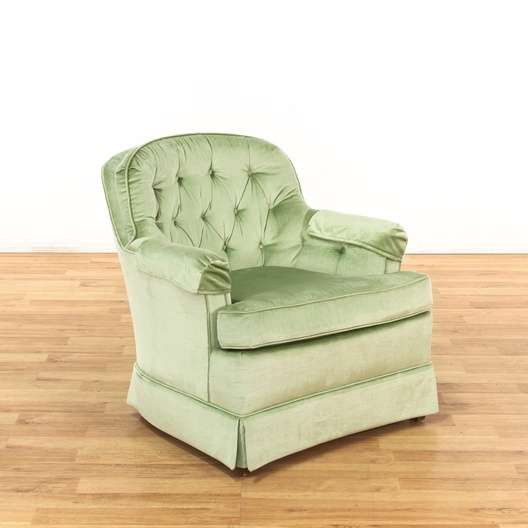 green velvet swivel chair black dining covers for sale drexel tufted armchair loveseat vintage next