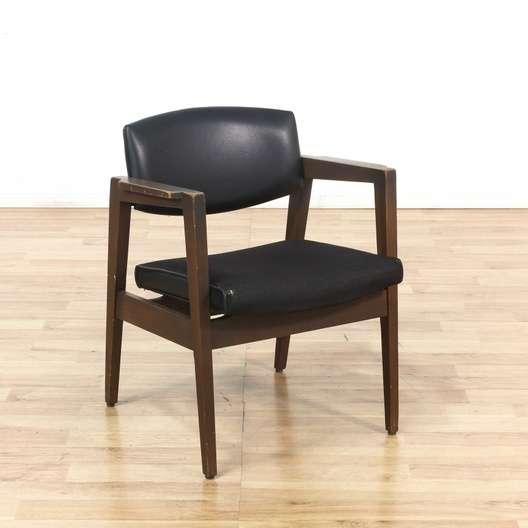 Mid Century Modern Black Wood Frame Armchair