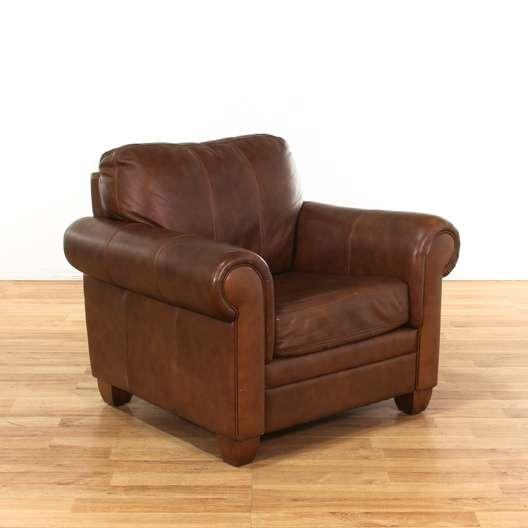 ethan allen leather chair tempur pedic ergonomic mesh mid back office oversized brown armchair loveseat vintage next
