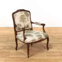 Tropical Print Wood Frame Armchair 1 | Loveseat Vintage ...
