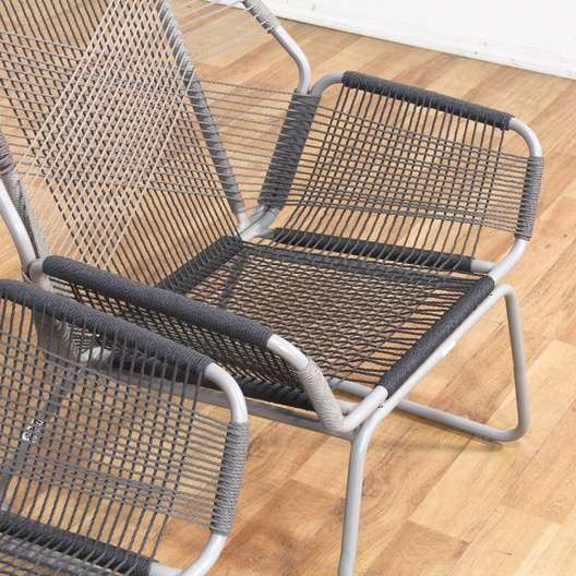 patio string chair how to make a queen throne pair of modern chairs w side table loveseat vintage next