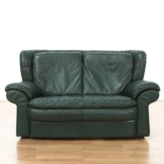 dark green leather sofa sure fit memory foam cover oversized 2 loveseat vintage furniture los next