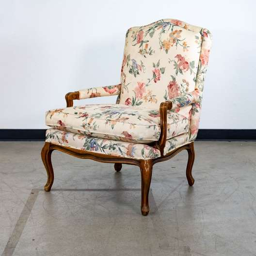 Cottage Chic White Floral Armchair Loveseat Vintage