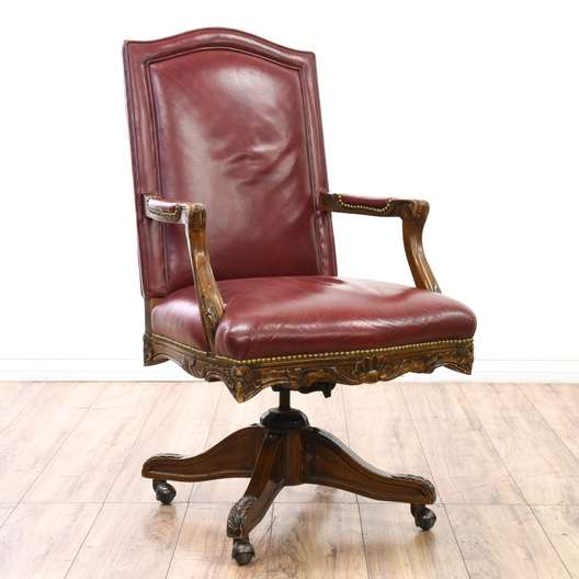 Red Leather Executive Rolling Office Desk Chair  Loveseat