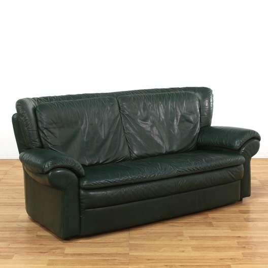 dark green leather sofa la z boy sleeper mattress oversized loveseat vintage furniture los