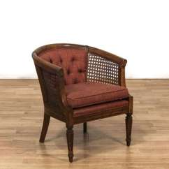 Mid Century Cane Barrel Chair Belmont Salon Parts Upholstered Tufted Back Armchair 2 Loveseat Next