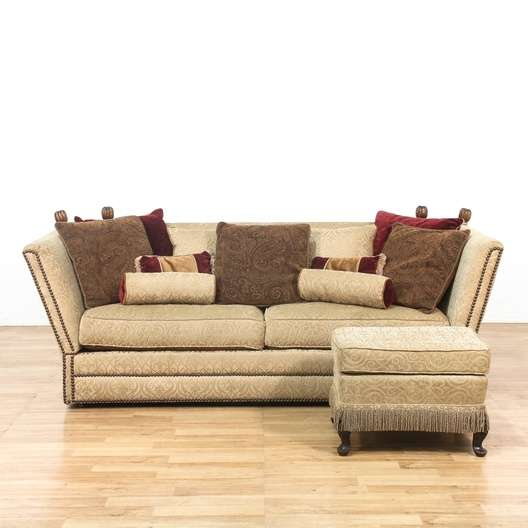 Nailhead Sofa Couch w Fold Down Arms  Ottoman  Loveseat Vintage Furniture Los Angeles