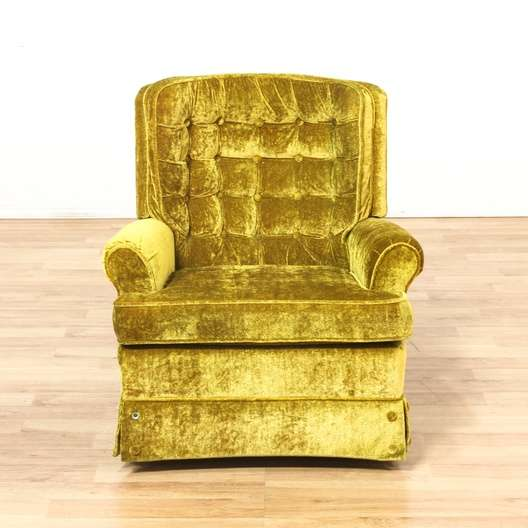 LaZBoy Yellow Tufted Velvet Swivel Rocking Chair
